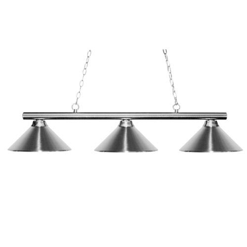Z-Lite Sharp Shooter Three-Light Brushed Nickel Island Pendant with Angled Chrome Metal Shades