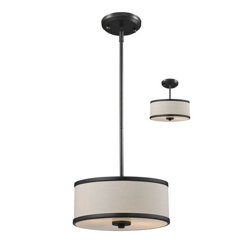 Z-Lite Cameo Creme and Factory Bronze Two-Light Convertible Pendant