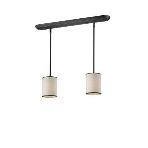 Cameo Two-Light Bronze Pendant with Creme Fabric Shades