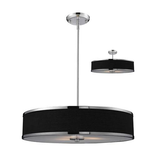 Z-Lite Cameo Black and Chrome Three-Light Convertible Pendant