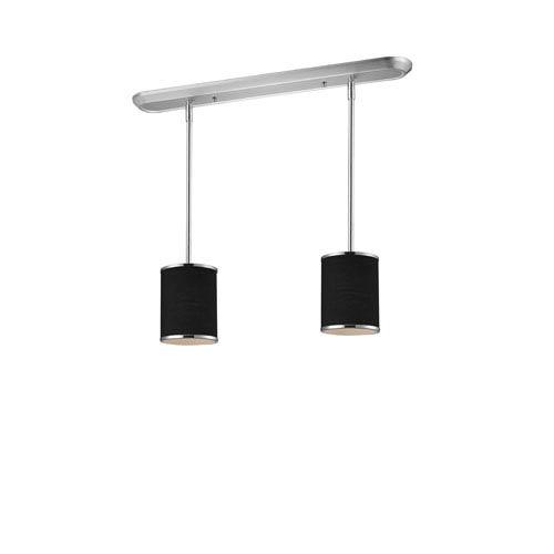 Z-Lite Cameo Two-Light Chrome Pendant with Black Fabric Shades
