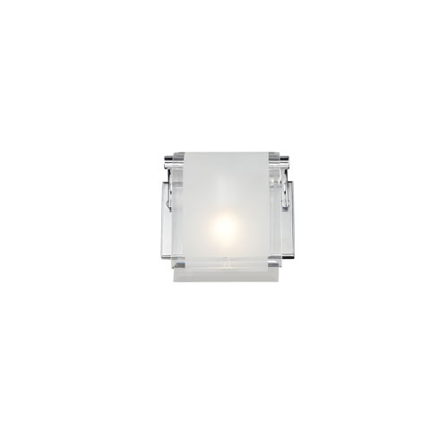 Z-Lite Zephyr One-Light Chrome Wall Sconce with Frosted Glass Shade