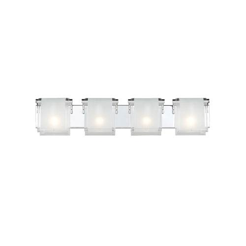 Z-Lite Zephyr Four-Light Chrome Vanity Fixture with Frosted Glass Shades