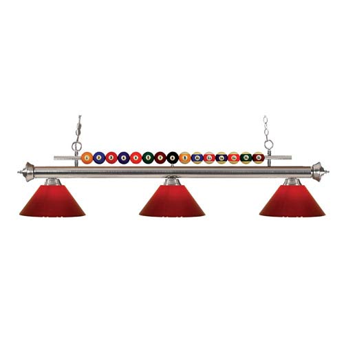 Z-Lite Shark Brushed Nickel Three-Light Billiard Pendant with Red Shade