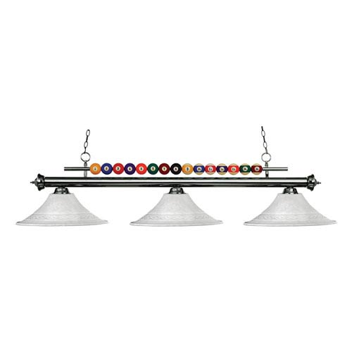 Z-Lite Shark Three-Light Gun Metal Island Pendant with Fluted White Mottle Glass Shades