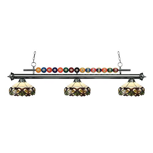 Shark Gun Metal Three-Light Billiard Pendant with Acrylic Burgundy Shade