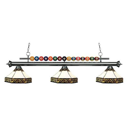 Shark Gun Metal Three-Light Billiard Pendant with Multicolor Tiffany Shade