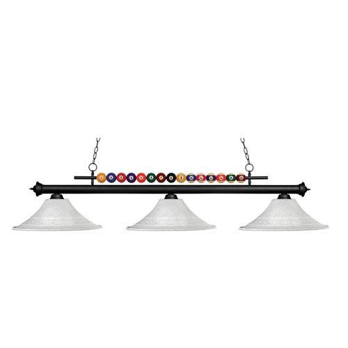 Shark Three-Light Matte Black Island Pendant with Fluted White Mottle Glass Shades