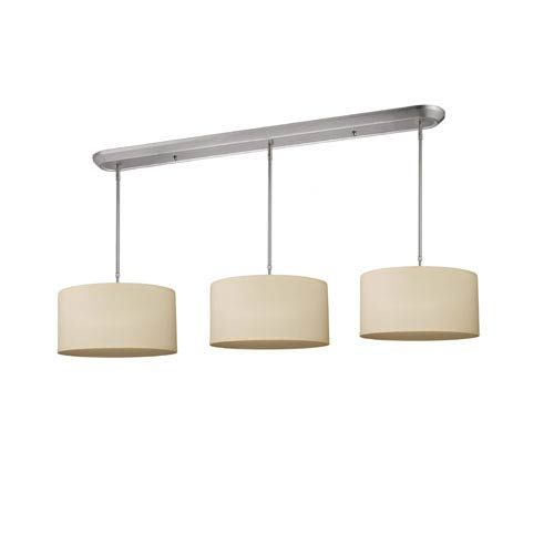 Z-Lite Albion Nine-Light Brushed Nickel Island Pendant with Off-White Linen Fabric Shades
