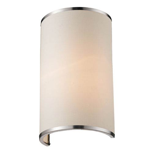 Z-Lite Cameo Brushed Nickel One-Light Wall Sconce with White Fabric Shade