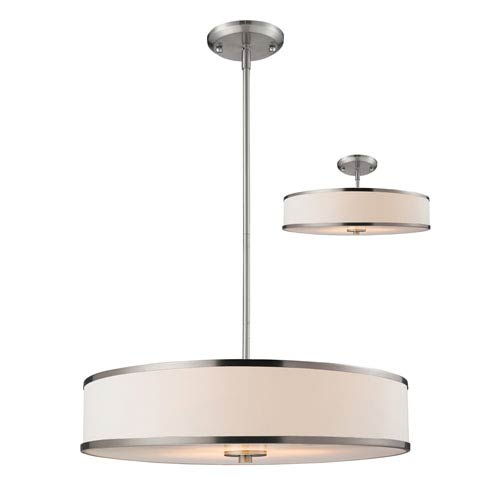 Cameo Brushed Nickel 23.5-Inch Three-Light Pendant with White Fabric Shade