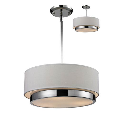 Z-Lite Jade Three-Light Chrome Convertible Drum Pendant with White Linen Shade