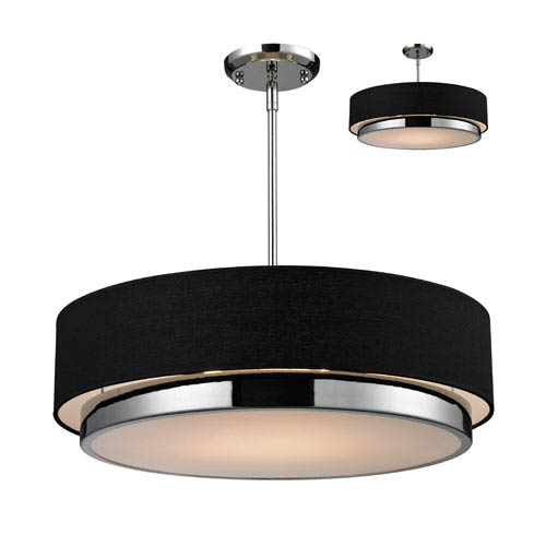 Z-Lite Jade Three-Light Large Chrome Convertible Drum Pendant with Black Linen Shade