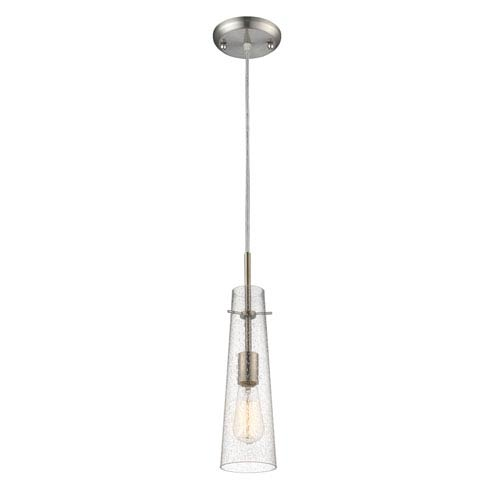 Monte Brushed Nickel One-Light Mini Pendant with Clear Seedy Glass