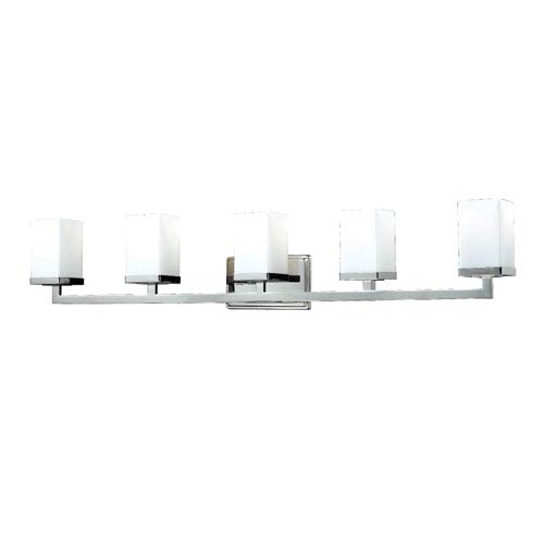 Z-Lite Tidal Five-Light Chrome Vanity Light with Rectangular Matte Opal Glass Shades