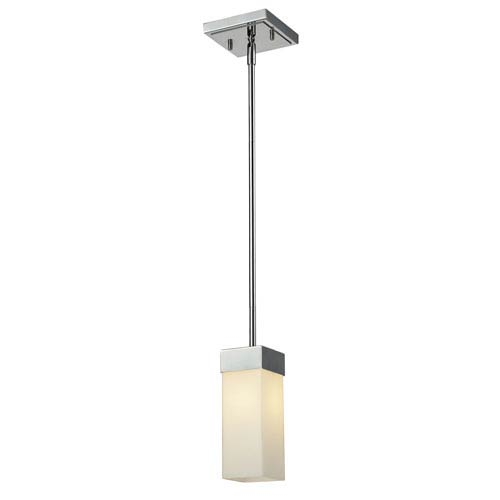 Z-Lite Sapphire One-Light Chrome Mini Pendant with Rectangular Matte Opal Glass Shade