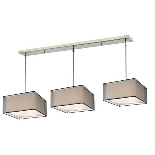 Sedona Brushed Nickel Nine-Light Pendant with Black and White Square Shades