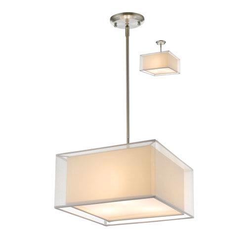 Z-Lite Sedona Brushed Nickel Fifteen-Inch Pendant with White Shade