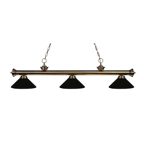Riviera Antique Brass Three-Light Billiard Pendant with Matte Black Shades