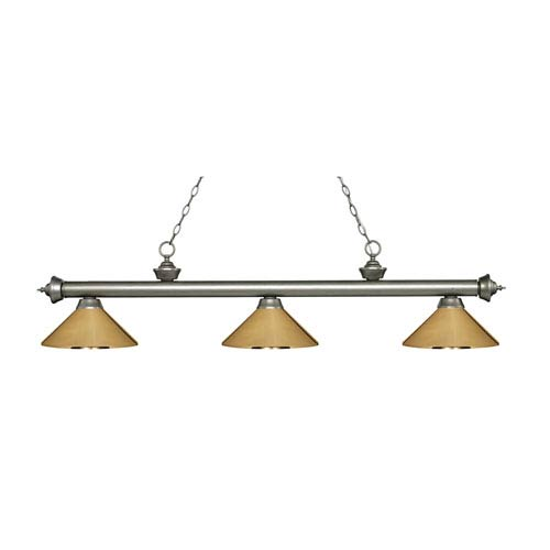 Riviera Antique Silver Three-Light Pendant with Polished Brass Metal Shades