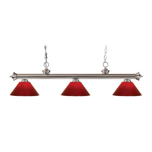 Riviera Brushed Nickel Three-Light Billiard Pendant with Red Plastic Shades