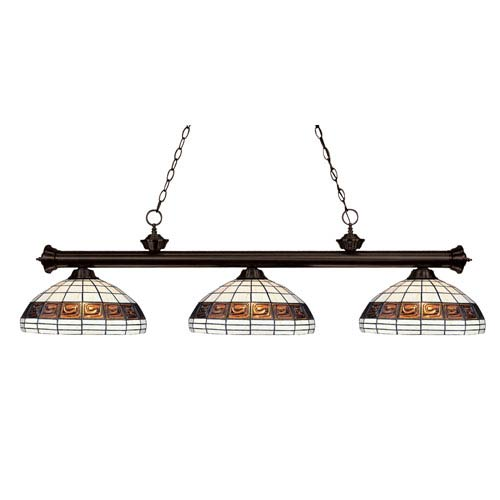 Z-Lite Riviera Three-Light Bronze Island Pendant with Domed Tiffany Glass Shades