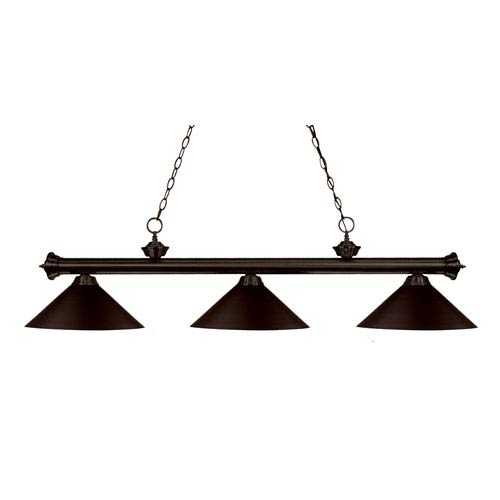 Z-Lite Riviera Three-Light Bronze Island Pendant with Angled Bronze Metal Shades