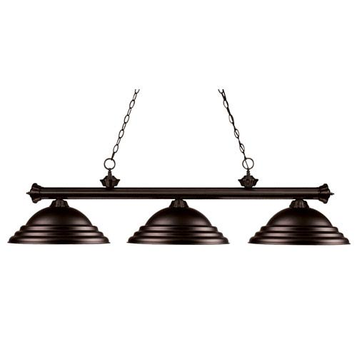 Z-Lite Riviera Three-Light Bronze Island Pendant with Bronze Metal Shades