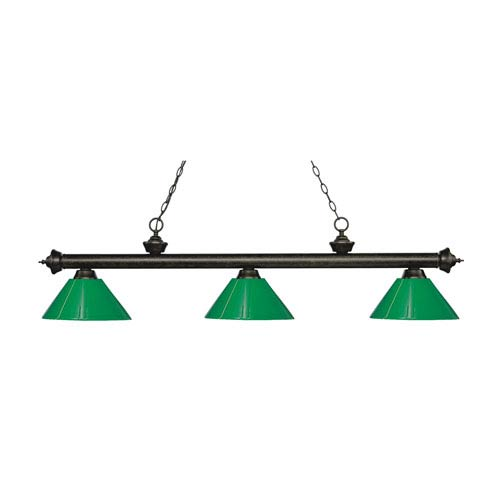 Riviera Golden Bronze Three-Light Pendant with Green Plastic Shades