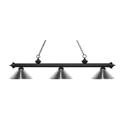 Riviera Matte Black Three-Light Pendant with Chrome Metal Shades