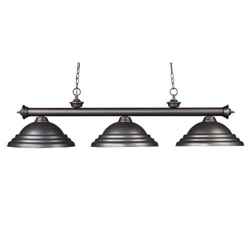 Z-Lite Riviera Three-Light Olde Bronze Island Pendant with Olde Bronze Metal Shades