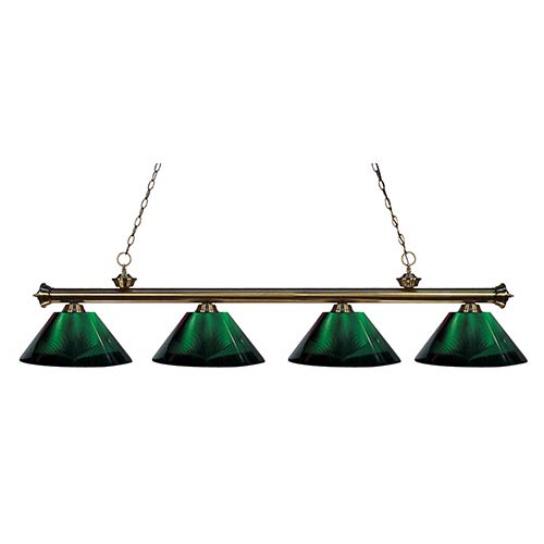 Z-Lite Riviera Antique Brass Four-Light Pendant with Green Shade