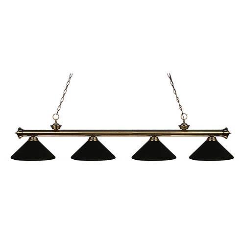 Z-Lite Riviera Antique Brass Four-Light Pendant with Matte Black Shade