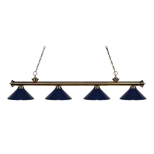 Z-Lite Riviera Antique Brass Four-Light Pendant with Navy Blue Shade