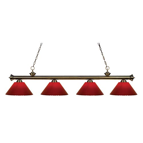 Z-Lite Riviera Antique Brass Four-Light Pendant with Red Plastic Shade