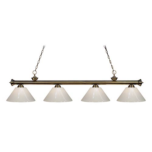 Z-Lite Riviera Antique Brass Four-Light Pendant with White Plastic Shade