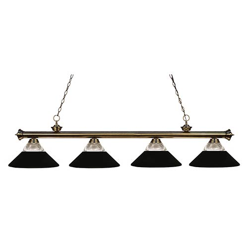Z-Lite Riviera Antique Brass Four-Light Pendant with Clear Ribbed Glass and Metal Matte Black