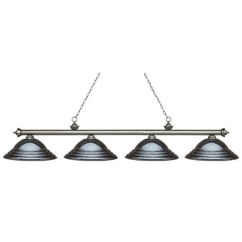 Riviera Antique Silver Four-Light Billiard Pendant with Stepped Gun Metal Shades