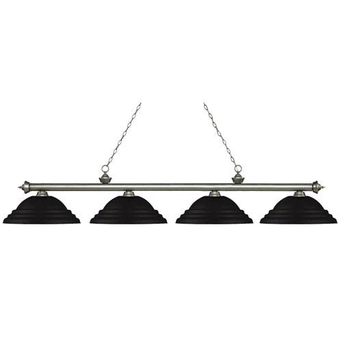 Riviera Antique Silver Four-Light Billiard Pendant with Stepped Matte Black Shades