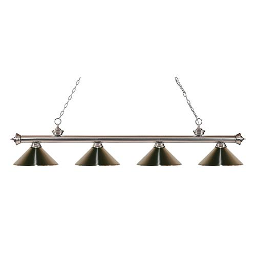 Z-Lite Riviera Brushed Nickel Four-Light 14-Inch Wide Pendant with Brushed Nickel Metal Shades