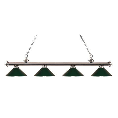 Z-Lite Riviera Brushed Nickel Four-Light Pendant with Dark Green Shade