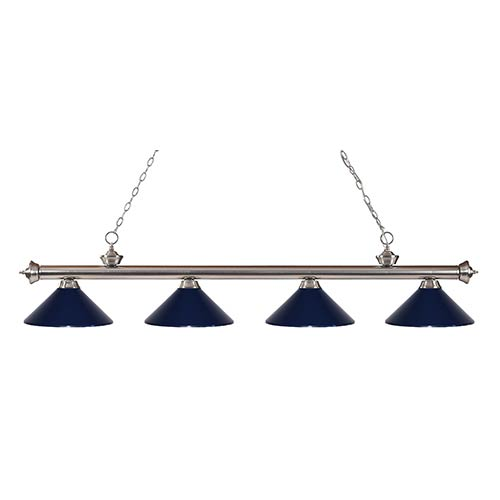 Z-Lite Riviera Brushed Nickel Four-Light Pendant with Navy Blue Shade
