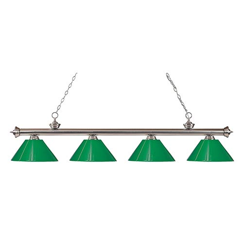 Z-Lite Riviera Brushed Nickel Four-Light Pendant with Green Plastic Shade