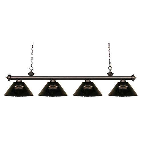 Z-Lite Riviera Olde Bronze Four-Light Pendant with Smoke Shade
