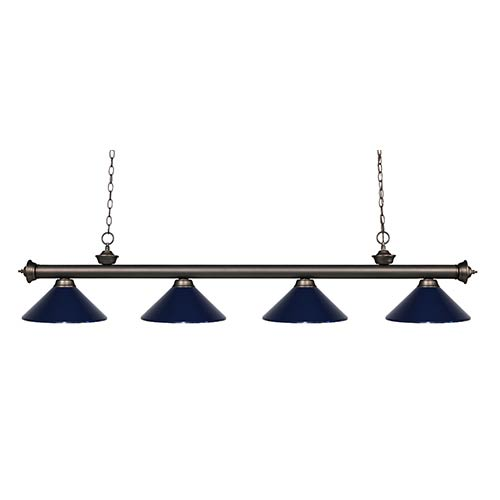 Z-Lite Riviera Olde Bronze Four-Light Pendant with Navy Blue Shade