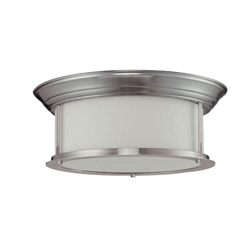 Z-Lite Sonna Three-Light Brushed Nickel Flush Ceiling Fixture with Matte Opal Glass