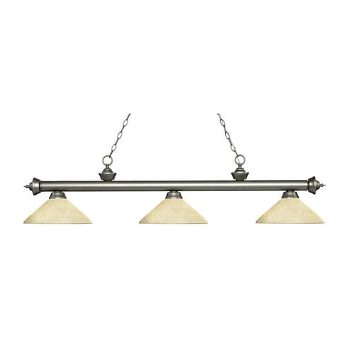 Z-Lite Riviera Antique Silver Three-Light Pendant with Angle Golden Mottle Glass