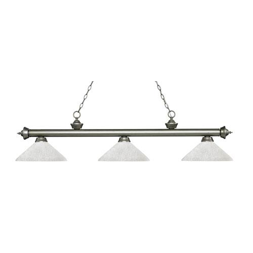 Z-Lite Riviera Antique Silver Three-Light Pendant with Angle White Linen Glass
