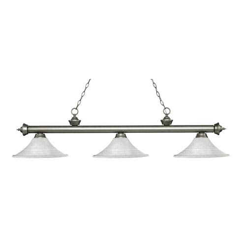 Z-Lite Riviera Antique Silver Three-Light Pendant with Fluted White Mottle Glass