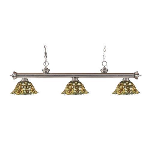 Riviera Brushed Nickel Three-Light Billiard Pendant with Tiffany Glass